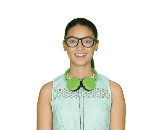 Smiling Young Woman Booster Glasses