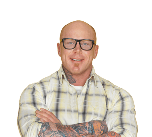 Smiling Man Tattoo Crossed Arms Booster Glasses